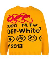 Off-White c/o Virgil Abloh Yellow Y013 Sweater In Wool Blend With Lettering And Graphics On The Front And Back.