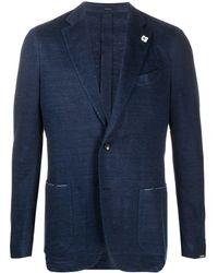 Lardini Single-breasted Linen Blazer - Blue