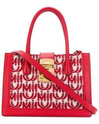 Miu Miu Jacquard Logo Print Tote - Red