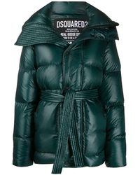 DSquared² High-shine Tie-waist Quilted Down Coat - Green