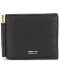 Tom Ford Textured Leather Money Clip Wallet - Black