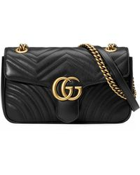 Gucci GG Marmont Small Matelassé Leather Shoulder Bag - Black