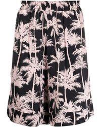 Laneus Elasticated Palm Tree Print Shorts - Pink