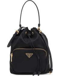 Prada Black Fabric Bucket Bag