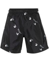 Off-White c/o Virgil Abloh All-over Logo-print Swim Shorts - Black