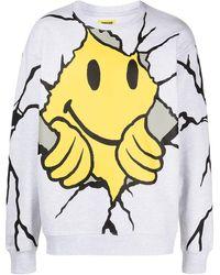 Chinatown Market Smiley Dry Wall Breaker Sweatshirt - Grey