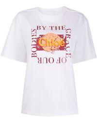 Chloé Oversized Slogan T-shirt - White