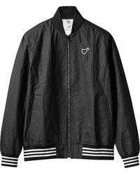 adidas Heart-detail Zip-up Bomber Jacket - Black