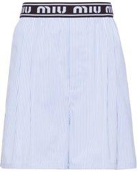 Miu Miu Striped Cotton Shorts - Blue