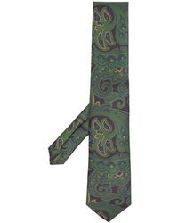 Etro Paisley Embroidered Silk Tie - Green