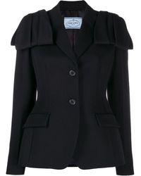 Prada Flap Detail Blazer Jacket - Black