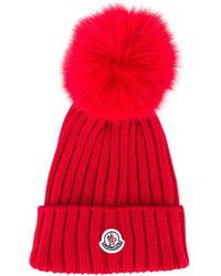 Moncler Ribbed Pompom Beanie - Red