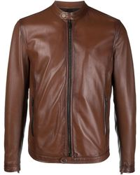 Tagliatore Collarless Leather Jacket - Brown