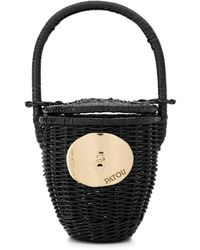 Patou Woven Bucket Bag - Black
