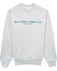 Sporty & Rich Logo-print Cotton Jumper - Grey