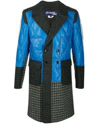 Junya Watanabe Patchwork Double Breasted Coat - Blue