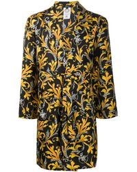 Versace Barocco-print Silk Robe - Black