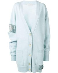 Christopher Kane Crystal Cupchain Cardigan - Blue