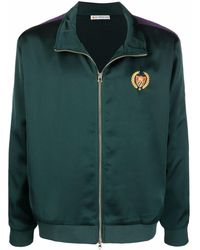 BEL-AIR ATHLETICS Embroidered-logo Satin Bomber Jacket - Green