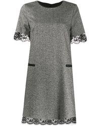 Twin Set Lace Hem Dress - Black