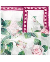 Dolce & Gabbana Tropical Rose Print Scarf - Pink