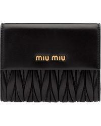 Miu Miu Matelassé Logo Wallet - Black