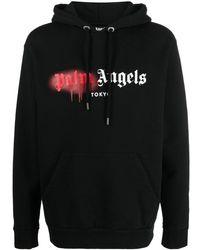 Palm Angels Sprayed Tokyo Logo Hoodie - Black