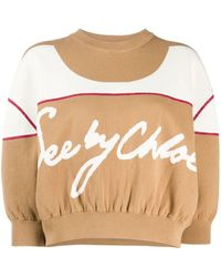 See By Chloé Double-faced Knit Cropped Sweater - Brown