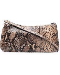 MANU Atelier Mini Pita Snakeskin-print Shoulder Bag - Brown