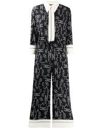 Elisabetta Franchi Cropped Printed Jumpsuit - Black