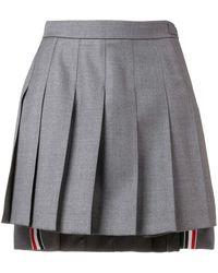 Thom Browne Dropped Back Mini Pleated Skirt - Grey