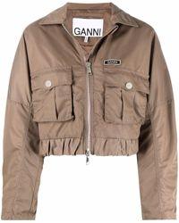 Ganni Flap-pocket Cropped Jacket - Brown