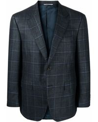 Canali Check-pattern Single-breasted Blazer - Green