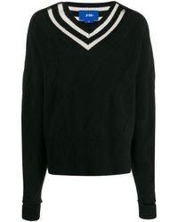 Ji Oh Stripe-detail Sweater - Black