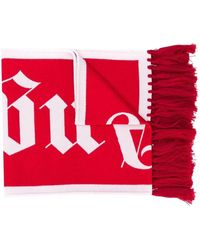 Palm Angels Logo Knitted Scarf - Red