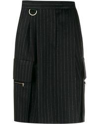 Max Mara Pinstripe Straight Skirt - Blue