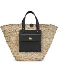 Dolce & Gabbana Leather-trim Straw Tote - Black