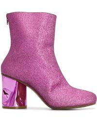 Maison Margiela Crushed Heel Glitter Ankle Boots - Pink