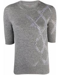 Ermanno Scervino Knitted Short Sleeved Top - Grey