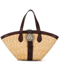KATE CATE Woven Straw Beach Bag - Multicolor