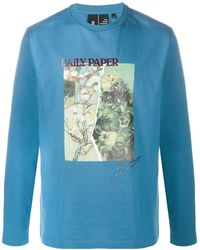 Daily Paper Split Painting Long Sleeve T-shirt - Blue