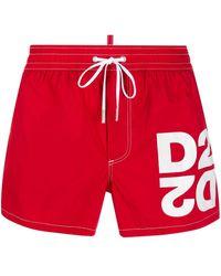 DSquared² Drawstring Logo Swim Shorts - Red