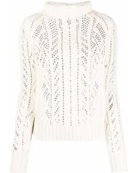 Ermanno Scervino Gem-embellished Roll Neck Sweater - White