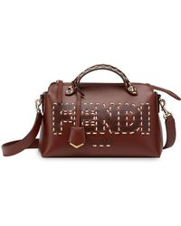 Fendi Dark Brown Calf Leather By The Way Logo Tote Bag