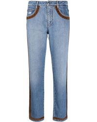 Ermanno Scervino Suede-trim Striaght Jeans - Blue