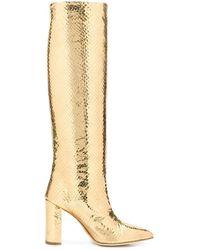 Paris Texas Embossed Knee Boots - Metallic