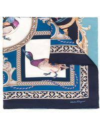 Ferragamo Heritage Print Square Scarf - Blue