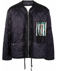Song For The Mute Patch-detailed Quilted Jacket - Blue