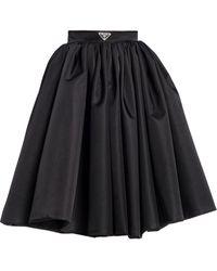 Prada Logo-plaque Flared Skirt - Black
