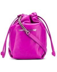 Saint Laurent Teddy Bucket Bag - Purple
